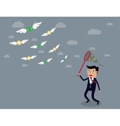 Businessman running with butterfly net vector