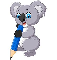 Cartoon koala holding pencil vector image vector image