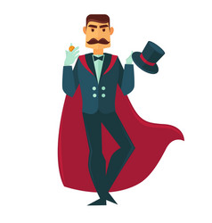 Circus magician man with magic hat flat vector