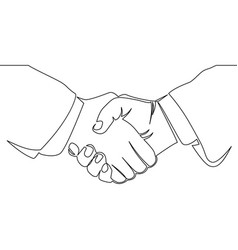 Continuous line drawing of handshake vector