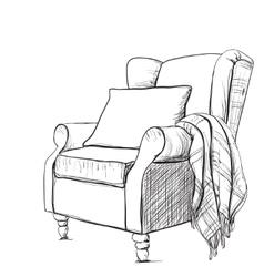 Cozy armchair and warm blanket vector