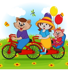 Family of cats on tandem bicycle vector