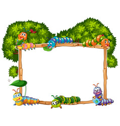 Frame template with caterpillar and tree vector