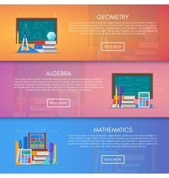 Geometry algebra and math banners science vector