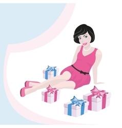 Girl and gift box vector