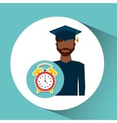 Graduate student man clock alarm vector
