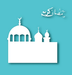 Greeting card with architecture for ramadan kareem vector