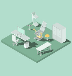 Isometric gynecology room with vector