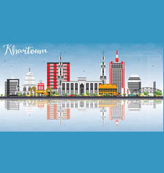 khartoum skyline with gray buildings blue sky and vector image vector image