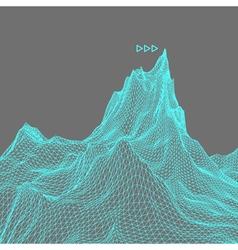Landscape background cyberspace grid 3d vector