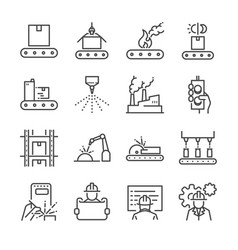 manufacturing line icon set vector image vector image