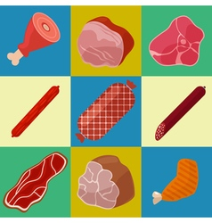 Meat Icons Set Butchery Icons Meat Products vector image
