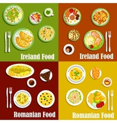 National dishes of irish and romanian cuisines vector image
