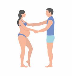 Pregnant woman and husband vector