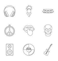 Rock music festival icon set outline style vector