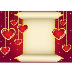 scroll and hearts vector image vector image