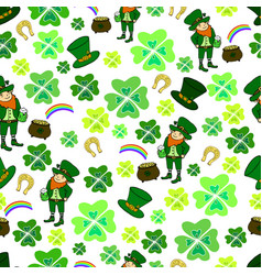 seamless st patrick s day green leprechaun vector image vector image