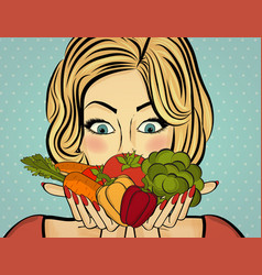 Sexy blonde woman with many vegetables in his vector