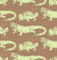 Sketch iguana and frog in vintage style vector image