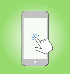 smartphone and click cursor finger sign click vector image