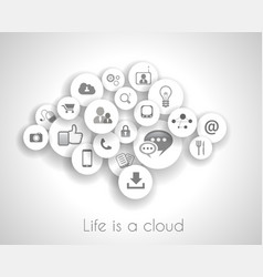 Social network life concept with cloud reference vector image vector image