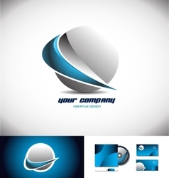 Sphere 3d logo icon design swoosh blue vector image vector image