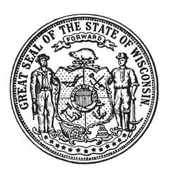 The great seal of the state of wisconsin vintage vector