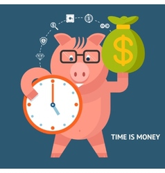Time Is Money - banking pig vector image vector image