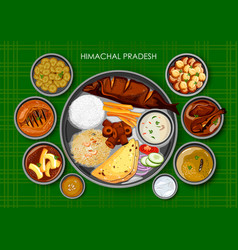 Traditional himachali cuisine and food meal thali vector