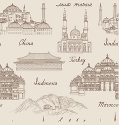 travel asia background world famous landmark vector image vector image