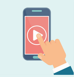 video play mobile hand vector image vector image