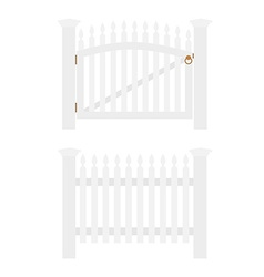 White fence and gate vector image