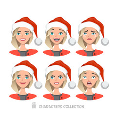 Women in santa hat with different emotions vector