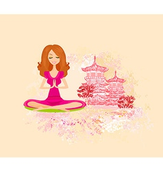 Yoga girl in lotus position vector image