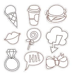 Set cartoon patch badges line draw vector