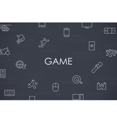 Gaming thin line icons vector