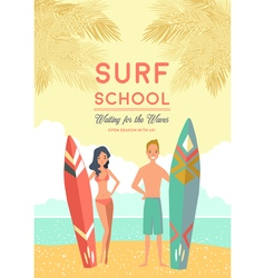 Surf school poster vector