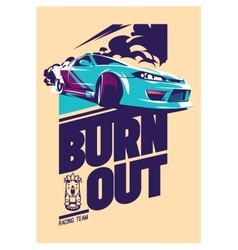 Burnout car japanese drift sport street racing vector