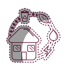 sticker house with save energy water and recycle vector image