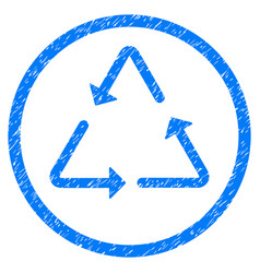 recycling triangle rounded grainy icon vector image