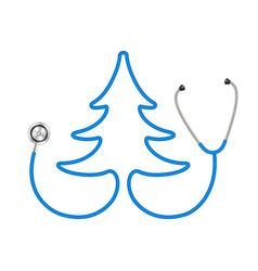 Stethoscope in shape of tree in blue design vector