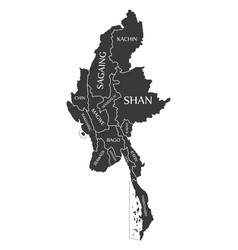 Myanmar map labelled black vector