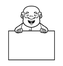 Black and white old man holding a blank sign vector