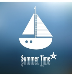 Summer time poster with ship vector image