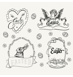 Easter logo set in vintage style hand drawn vector