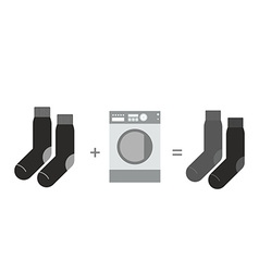 Black socks and a washing machine shades of gray vector