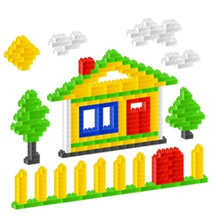Plastic construction block house vector