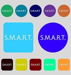 Smart sign icon press button 12 colored buttons vector