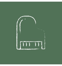 Piano icon drawn in chalk vector
