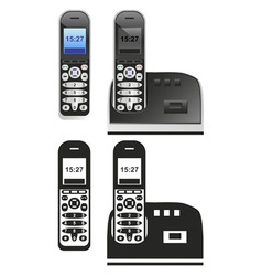 Handset and phone on white vector